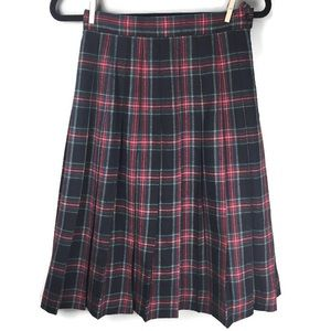 VTG LL Bean Tartan Plaid Pleated Midi Skirt Size 6